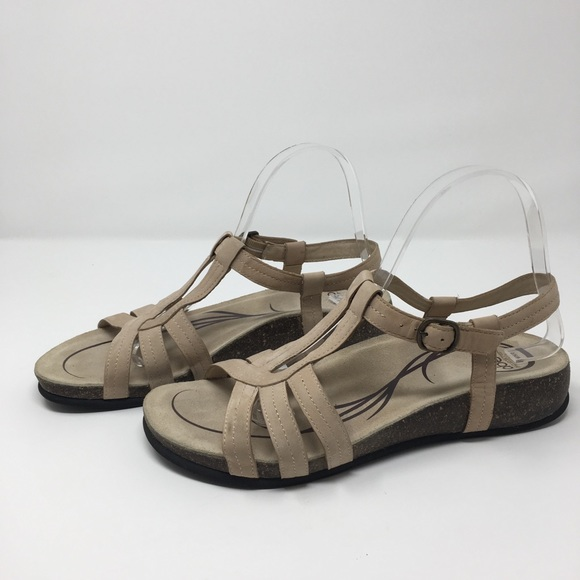 01f6b1044173 Abeo Shoes - Abeo Tan Suede Strappy Comfort Cork Sandals 9